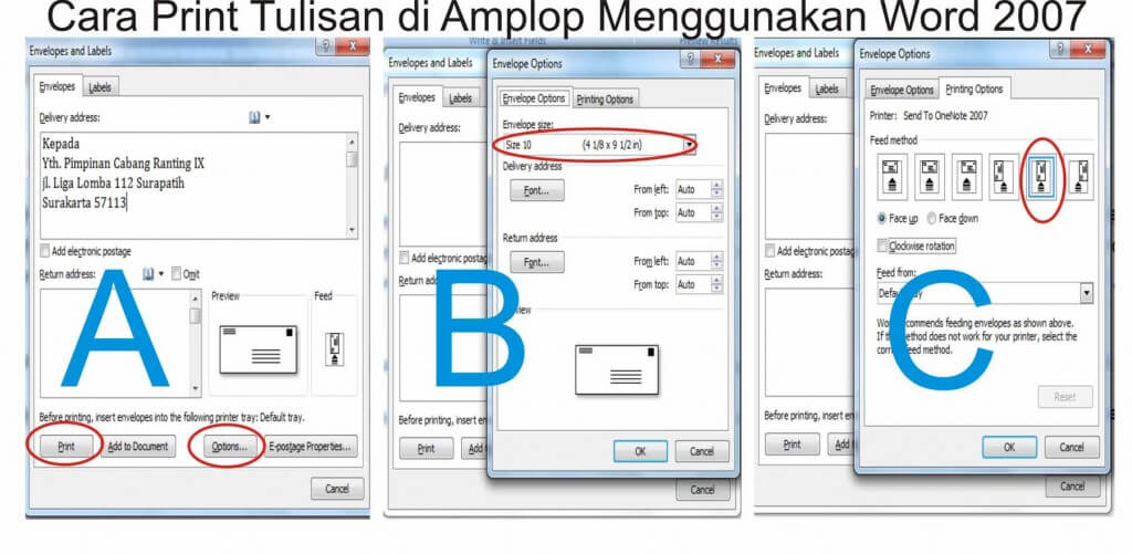 cara print tulisan alamat di amplop menggunakan word 2007