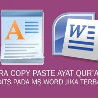 Cara Copy Paste Ayat Qur'an / Hadits Pada MS Word Jika Terbalik